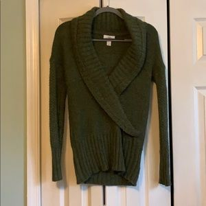 Ann Taylor Loft green cozy shawl sweater